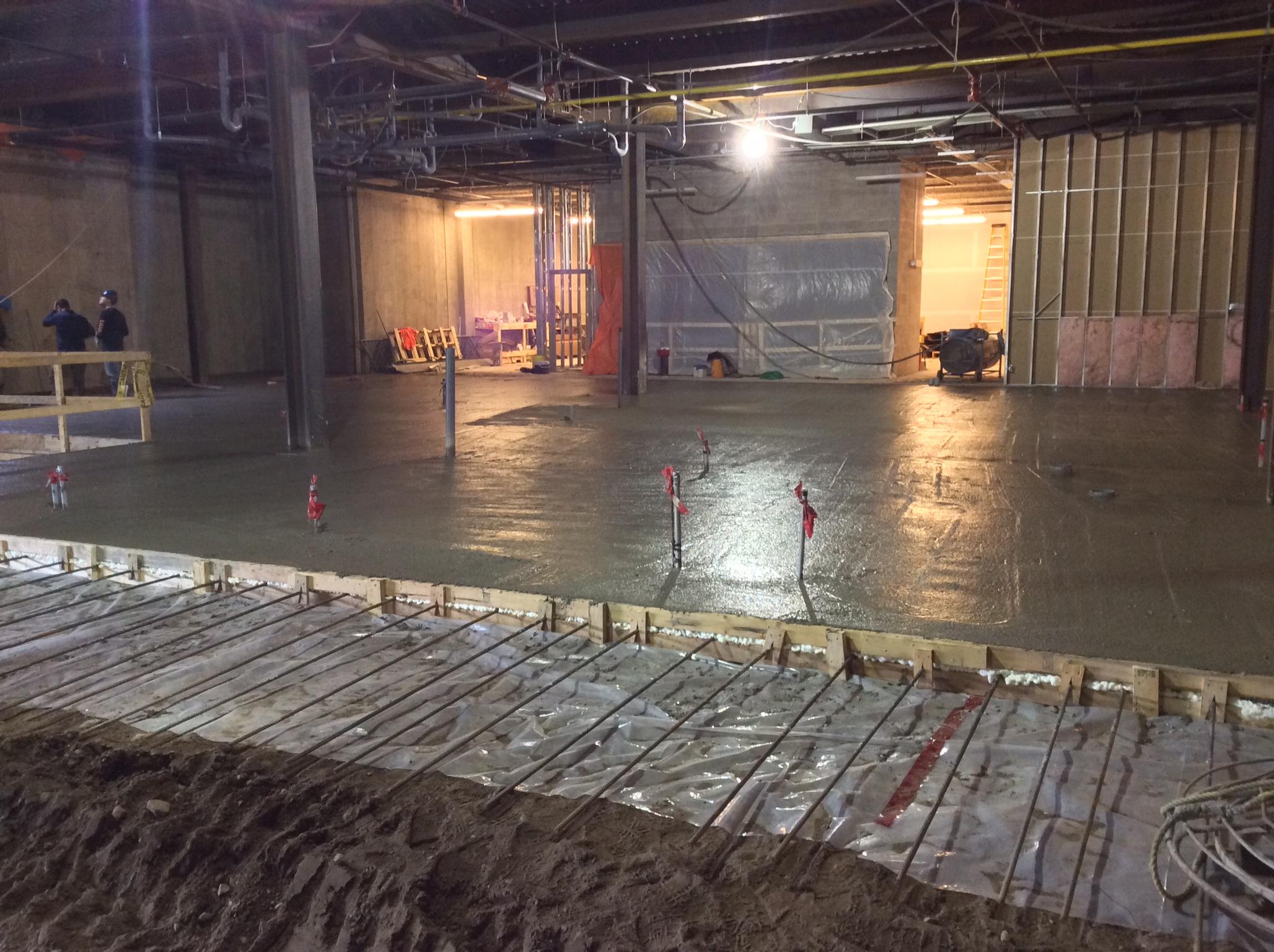 Freshly poured concrete floor