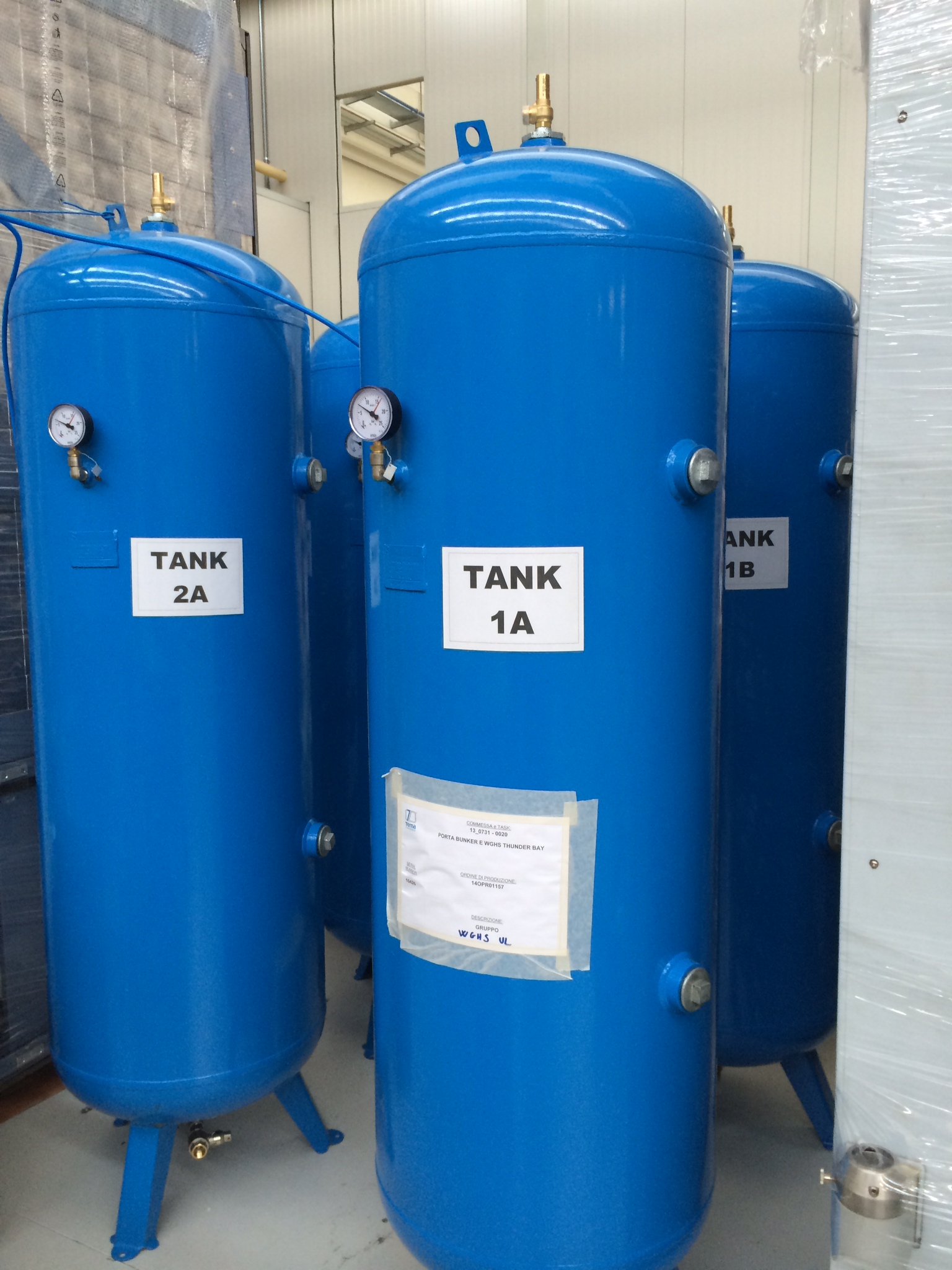 Gas holding tanks at factory in Italy