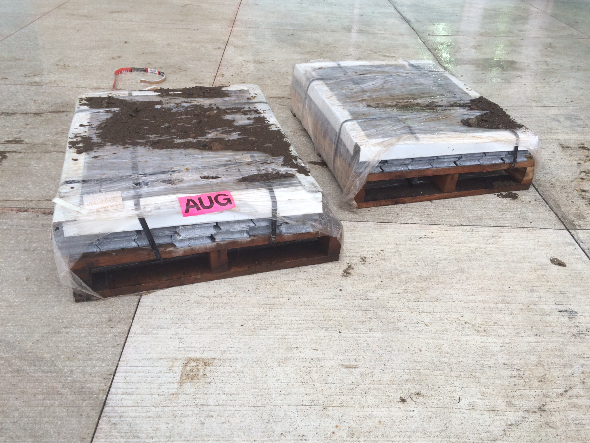 Pallets of lead bricks