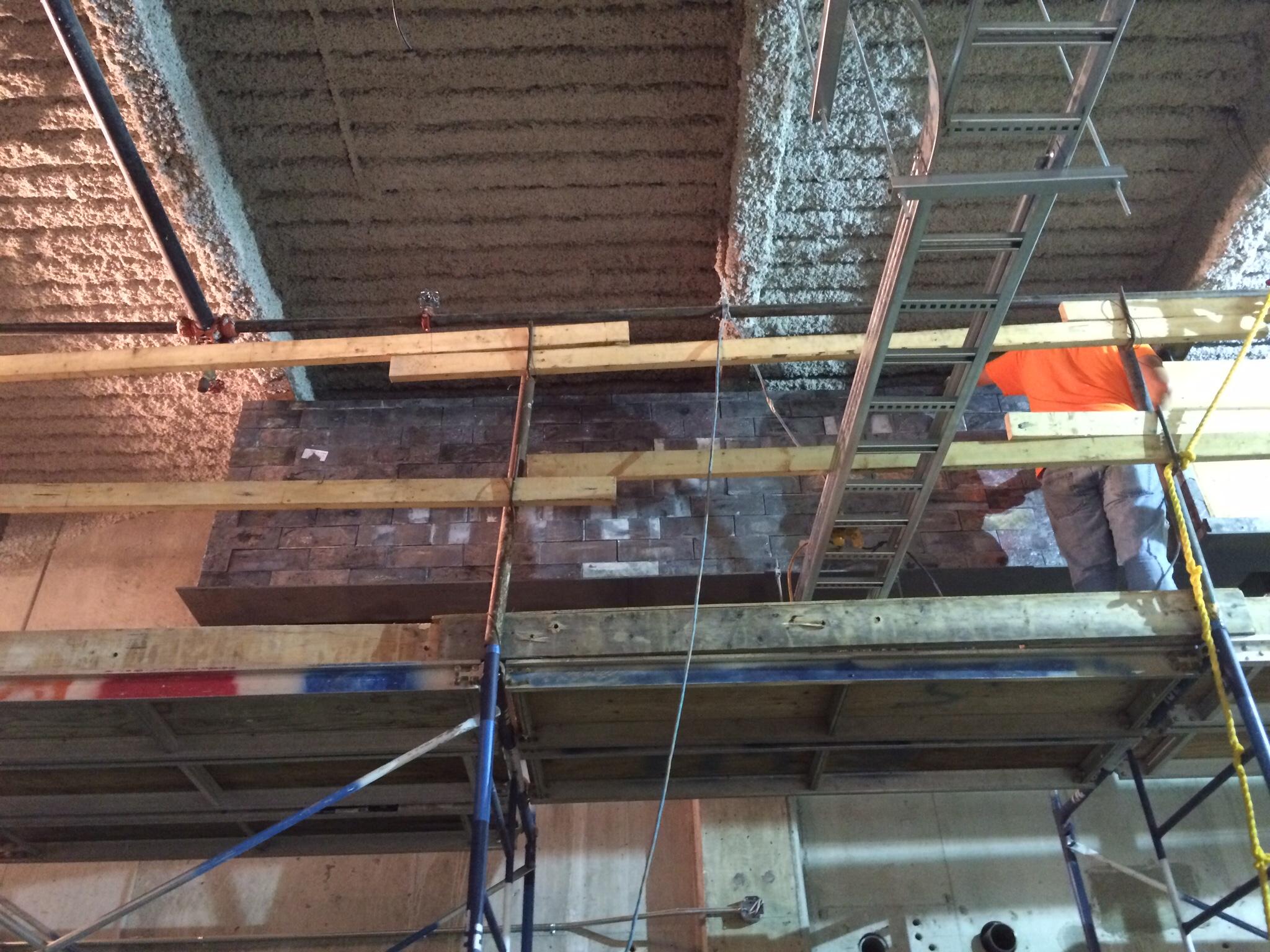 Installation of lead bricks