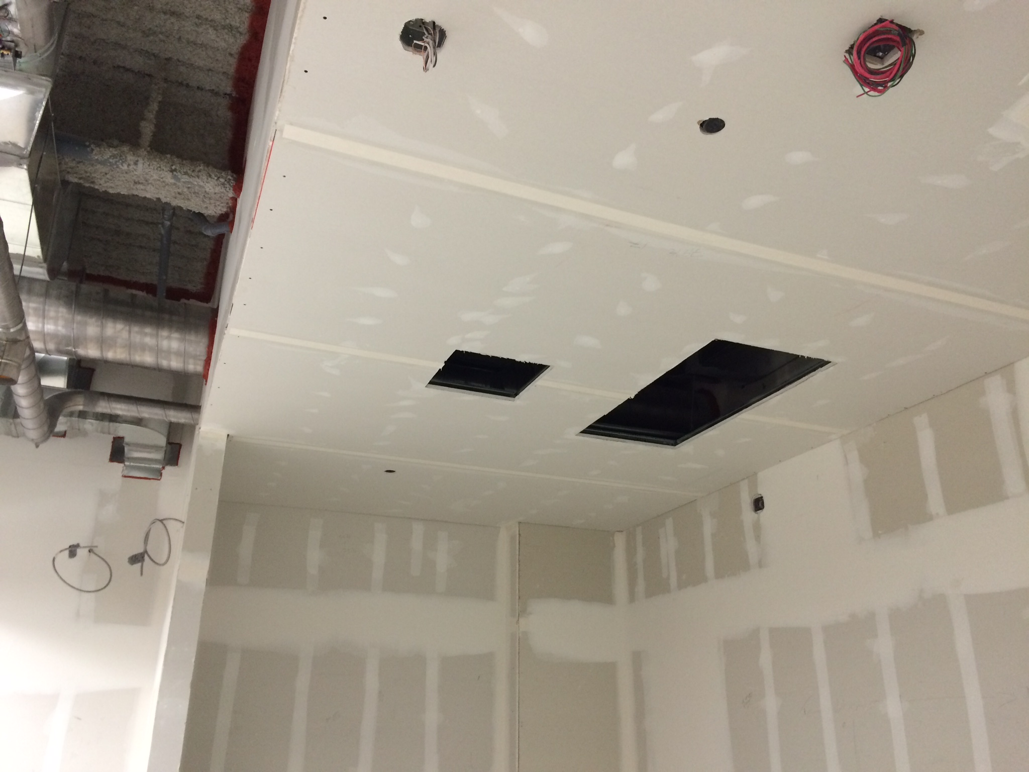 Ceilings drywalled