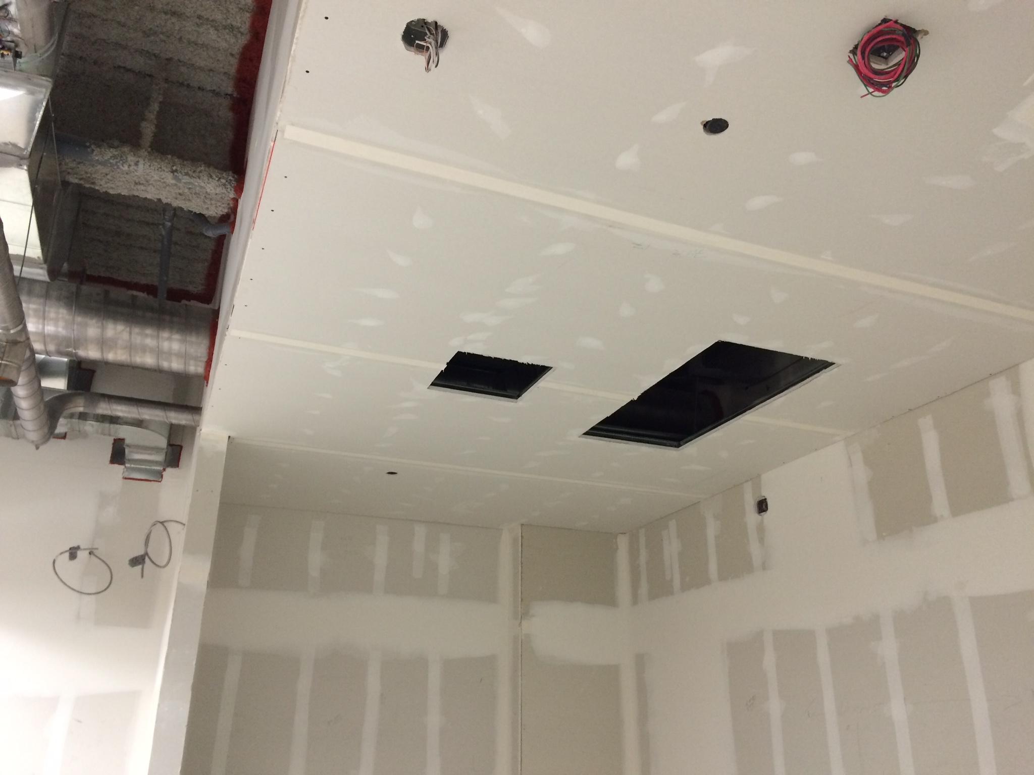Ceilings drywalled