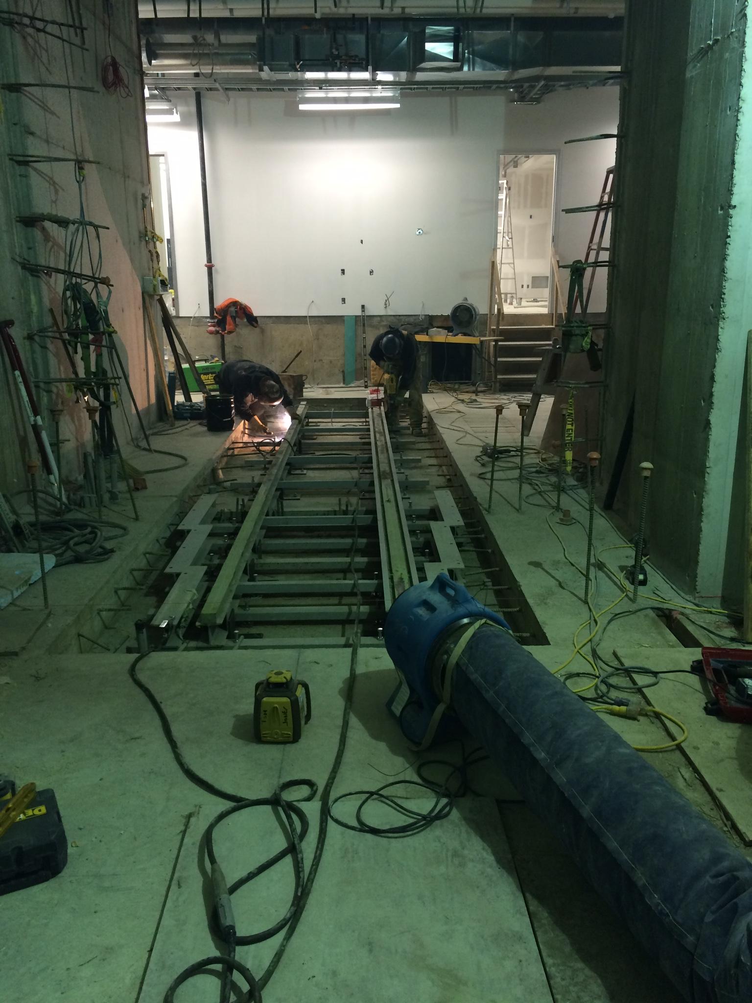 Installation of bunker door rails
