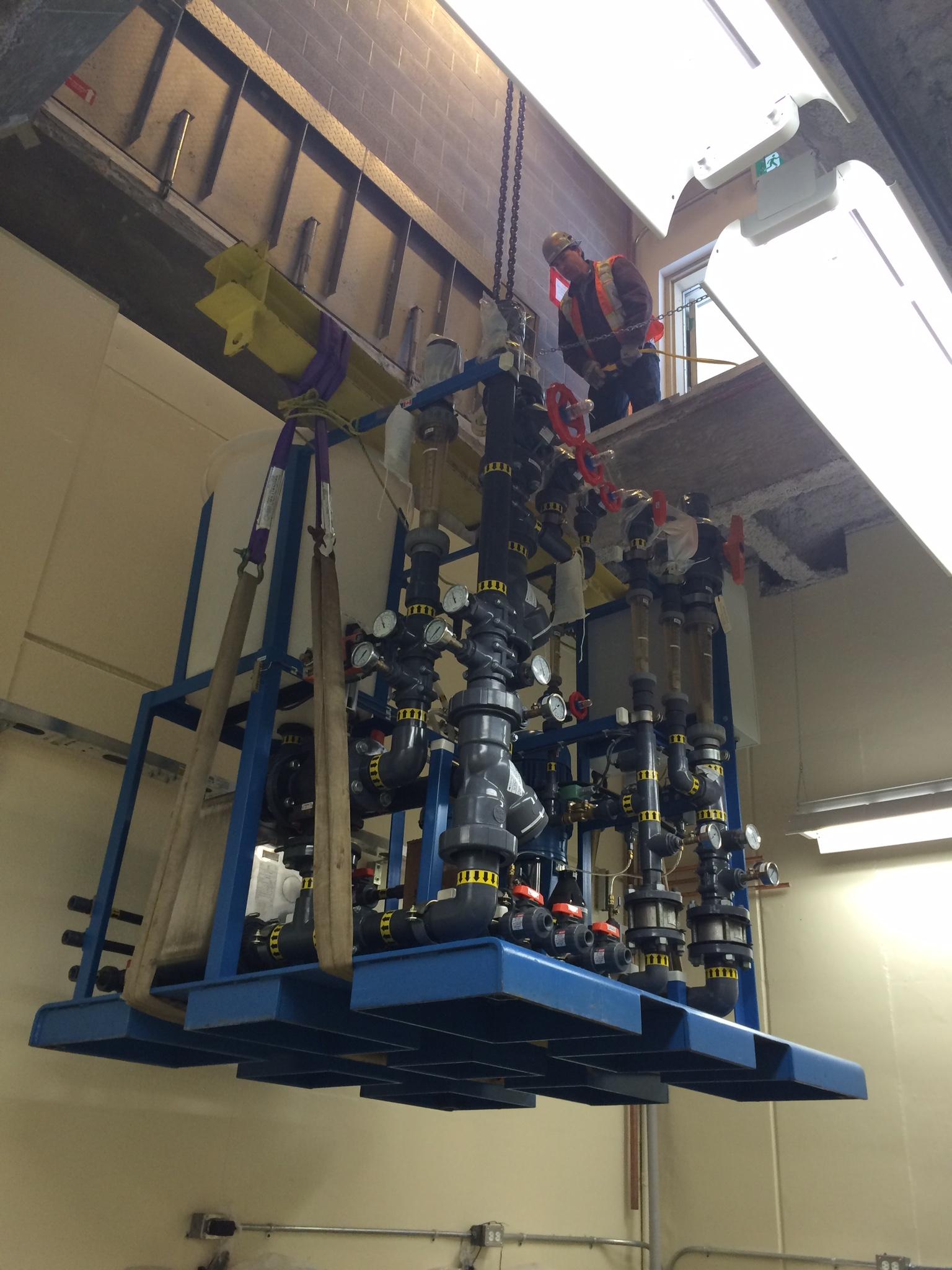 Lowering of Water Pak equipment