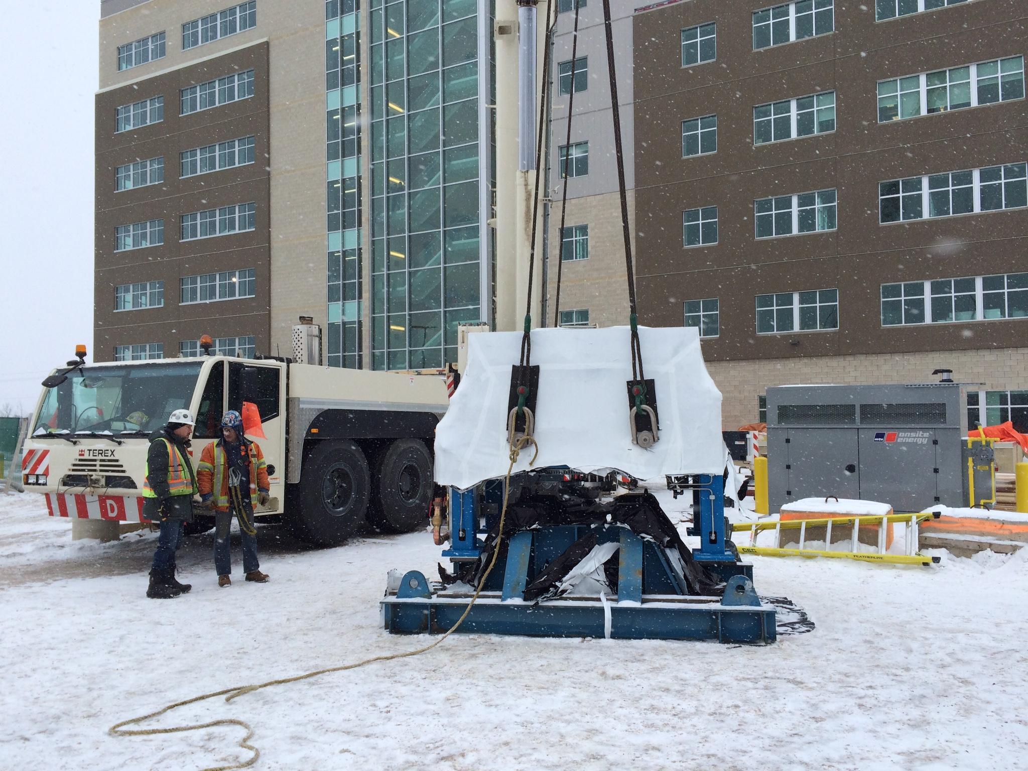 Preparing to lift cyclotron